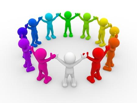 3d mensen - menselijk karakter, verschillende mensen in de cirkel. Dit is een 3d render illustratie Stockfoto