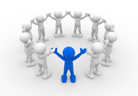 3d circle: 3d people - human character, leadership and people in circle. 3d render illustration