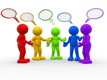3d people - human character , person and speech bubbles . 3d render illustration  Stock Photo