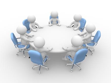 3d mensen - menselijk karakter persoon aan een ronde vergadertafel met stoelen. Zakelijke bijeenkomst. 3d render Stockfoto