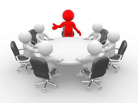 3d people - human character - person . Leadership and team at conference table. This is a 3d render illustration  Stock Photo