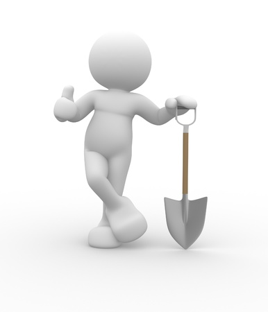 dug: 3d people - human character with a shovel. 3d render illustration Stock Photo