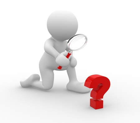 magnify glass: 3d people - human character - person with magnifying glass question mark red search . 3d render illustration