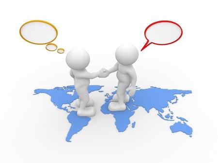 dos personas conversando: Gente 3d - car�cter humano - dos personas hablando y mapas del mundo. 3d hacer ilustraci�n