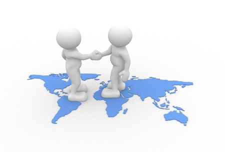 3d people - human character - two people talking and world maps. 3d render illustration Stock Photo