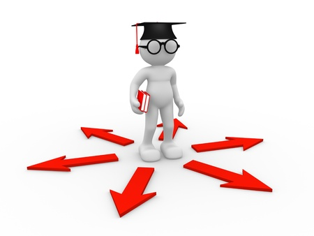 education choice: 3d people - human character , person with books , graduation cap and arrows. Confusion ( nerd , student ) . 3d render Stock Photo