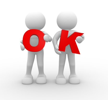 accept icon: 3d people - human character and the word OK. 3d render illustration Stock Photo