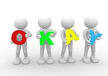 """stimme: 3D-Menschen - menschlichen Charakter und das Wort """"okay"""". 3d render Illustration Lizenzfreie Bilder"""