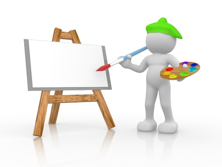 3d people - human character - painter and easel with canvas. 3d render illustration illustration