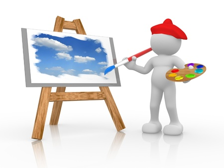 painter palette: 3d people - human character - painting the sky on sevalet ( easel ). 3d render illustration