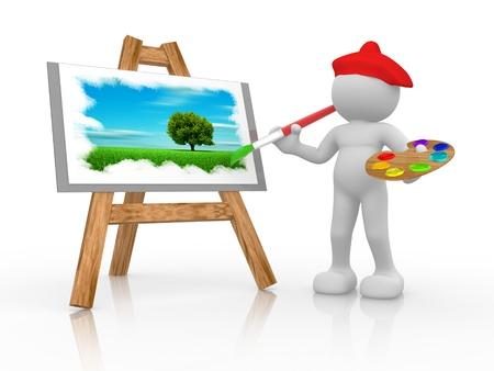 hombre pintando: La gente 3d - carácter humano - pintura de un árbol y la hierba en un sevolet. 3d hacer ilustración