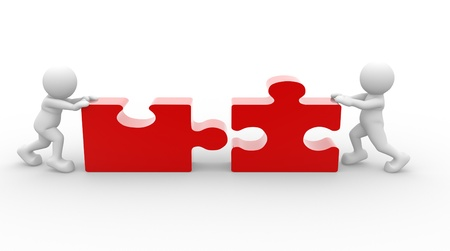 Two person matching puzzle pieces-jigsaw. This is a 3d render illustration