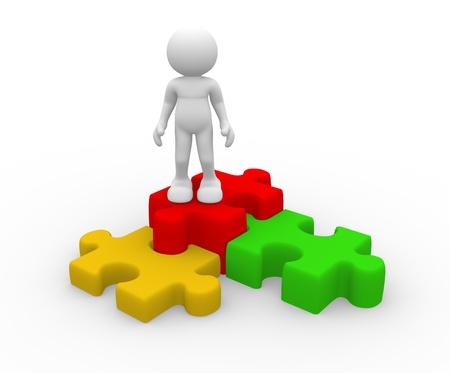 Les gens 3d - caractère humain avec le puzzle puzzle-. Illustration de rendu 3d