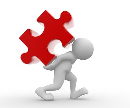 Persone 3d - carattere umano con il puzzle-puzzle. 3d rendering illustrazione