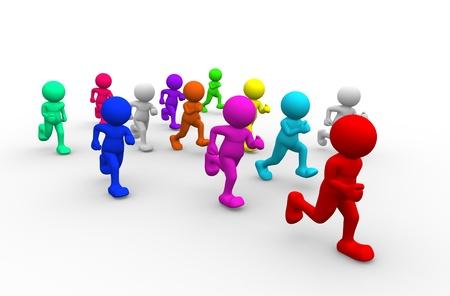 3d people - human character run - athletics. 3d render illustration illustration