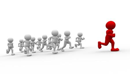 3d people - human character running- leadership. 3d render illustration