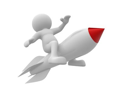 launching: 3d  people- human character flying on the rocket. 3d render illustration Stock Photo