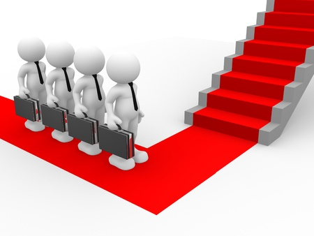 back to the future: 3d people - human character - person with briefcase for stairs and red carpet. 3d render illustration