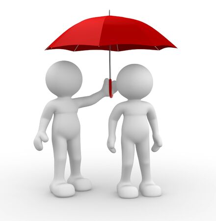 partnership security: 3d people - human character ,  person under an  umbrella.  3d render illustration