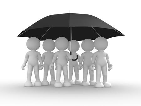 3d people - human character under an umbrella. 3d render illustration