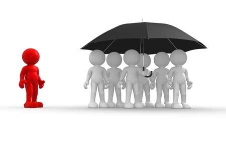 toon: 3d people - human character under an umbrella - discrimination. 3d render illustration   Stock Photo