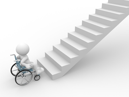 disable: 3d people - human character ,  person in a wheelchair in front of stairs .  3d render illustration Stock Photo