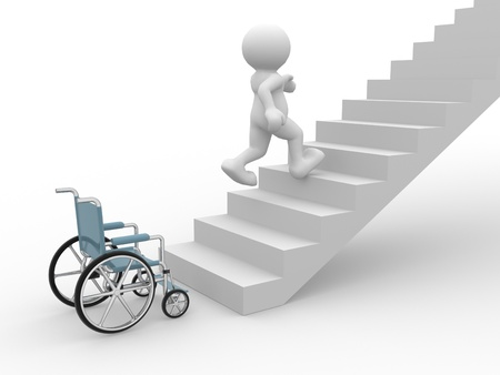 wheelchair man: 3d people- human character running from wheelchair on stair. 3d render illustration