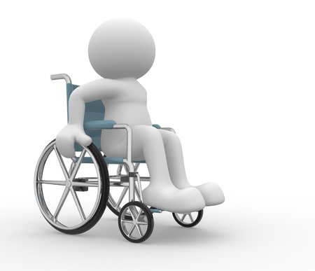 silla de ruedas: Gente 3d - carácter humano, persona en silla de ruedas. 3d hacer ilustración