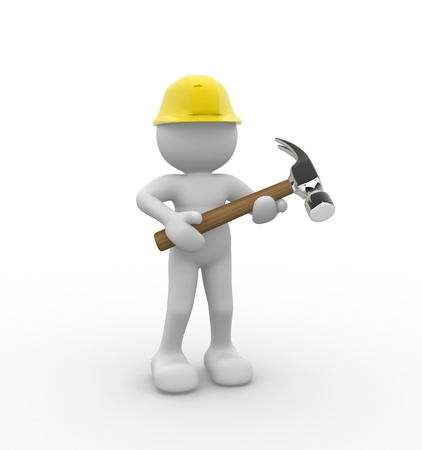 constructor: 3d people -human character with a  hammer. 3d render illustration
