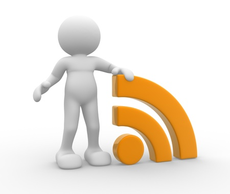 rss sign: 3d people - human character , person  and  RSS symbol ( blog ).  3d rendered illustration Stock Photo