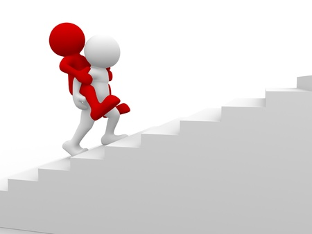 leading: 3d people - human character , piggyback on a stairs. This is a 3d render illustration   Stock Photo