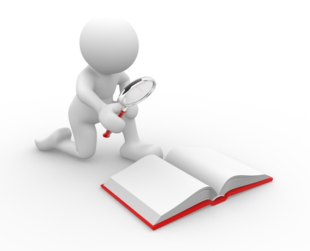 3d people - human character , person  looking  with a magnifying glass in an open book .  3d render illustration  illustration