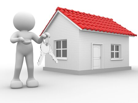 house keys: 3d people - human character with  keys in hand, and a house . 3d render illustration  Stock Photo