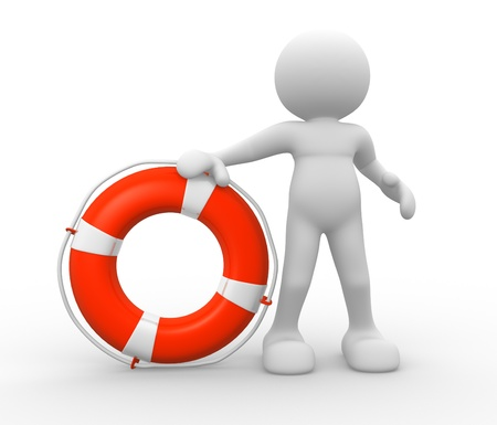 disaster recovery: 3d people - human character with lifebuoy. 3d render illustration