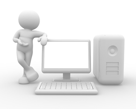 supported: 3d people - human caracter ,  person supported by a computer.  3d render Stock Photo