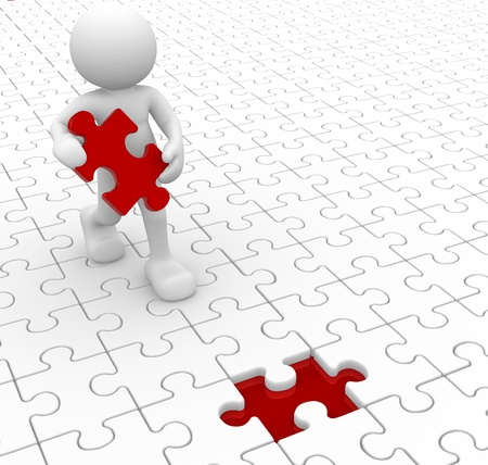 jigsaws: Persone 3d - carattere umano e pezzo mancante - jigsaw. 3d rendering