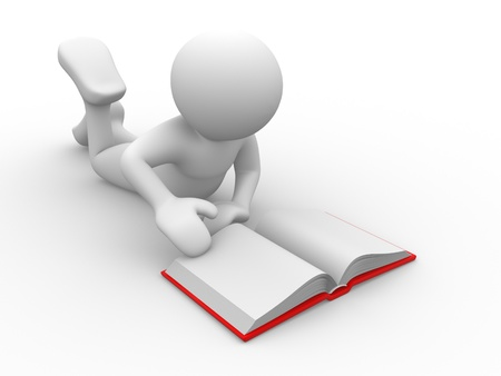 degrees: 3d people - human character- reading book. 3d render illustration Stock Photo