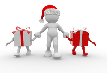 humorous: 3d people - human character  with Christmas gifts and a Santa Claus hat. 3d render illustration