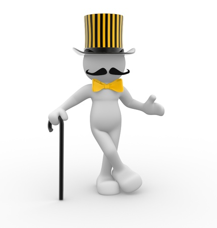 3d people - human character - gentleman with hat and with a cane. 3d render illustration illustration