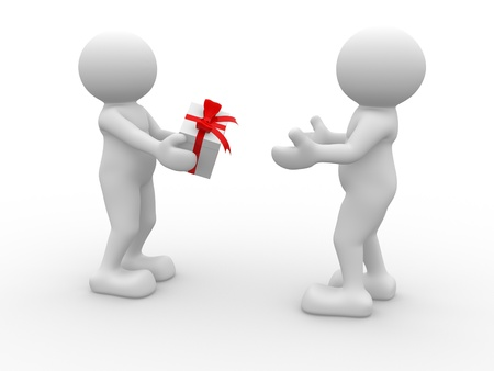 gives: 3d people - human character -gives a gift box. 3d render illustration