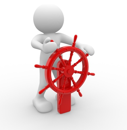 ship steering wheel: 3d people - human character - person and  an helm. Helmsman . 3d render illustration