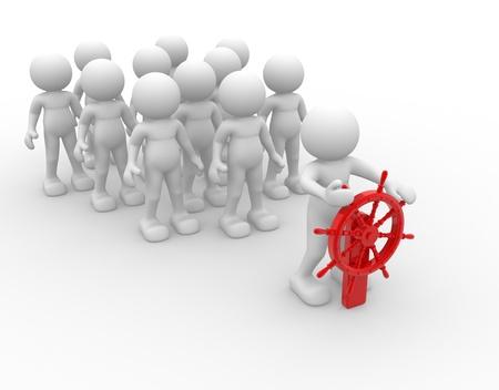 liderazgo: Gente 3d - car�cter humano - persona y un tim�n. Timonel. 3d hacer ilustraci�n Foto de archivo