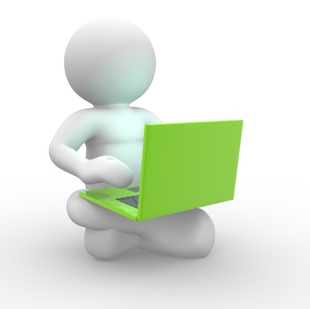 3d people - human character and laptop. This is a 3d render illustration  illustration