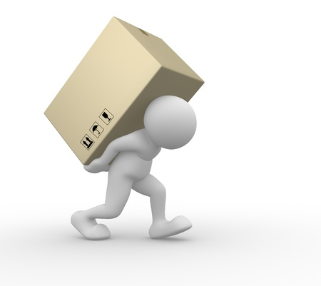 3d people - human character carry a big package . 3d render illustration Stock Illustration - 14800396