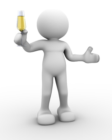 people celebrating: 3d people - human character - person a toast with a glass of champagne . 3d render illustration Stock Photo