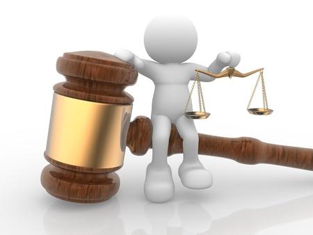 orden judicial: Gente-humano de personajes en 3D con una escala de la justicia y el sonido del mazo. 3d hacer ilustración