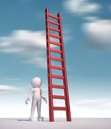 attain: 3d people - human character ,  person  and a ladder  - stair.  3d render