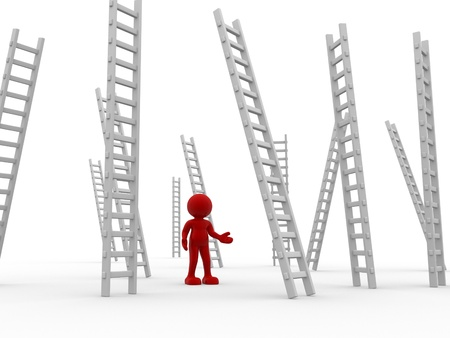 attain: 3d people - human character ,  person   and ladders , stair .  3d render
