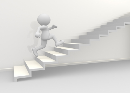 3d people - human character climb the  staircase. 3d render illustration Stock Illustration - 14802154