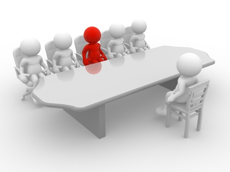 interviews: 3d people - human character, employee and employer in the meeting. 3d render